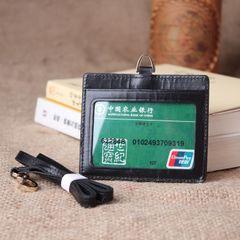 新品 单面透明卡套 进口头层山羊皮高档商务证件套门禁卡套胸卡套